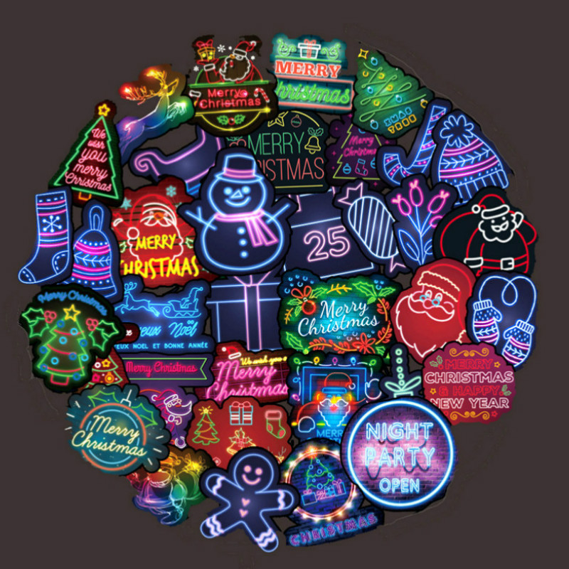 50PCS Christmas Sticker Neon Light Sticker For Luggage Laptop Decal Skateboard Stickers Santa Claus Snowman Toys Can Not Glow In