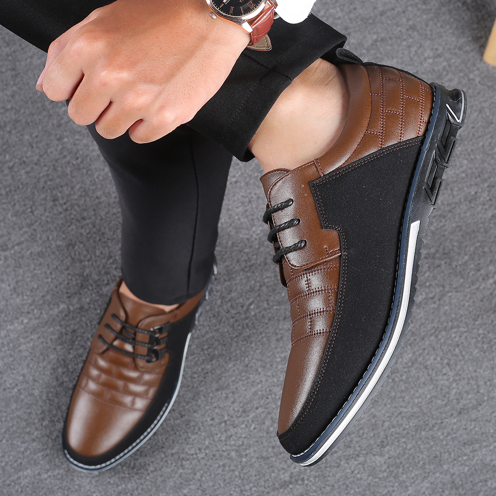 2019 New Big Size 38-48 Oxfords Leather Men Shoes Fashion Casual Slip On Formal Business Wedding Dress Shoes Men Drop Shipping