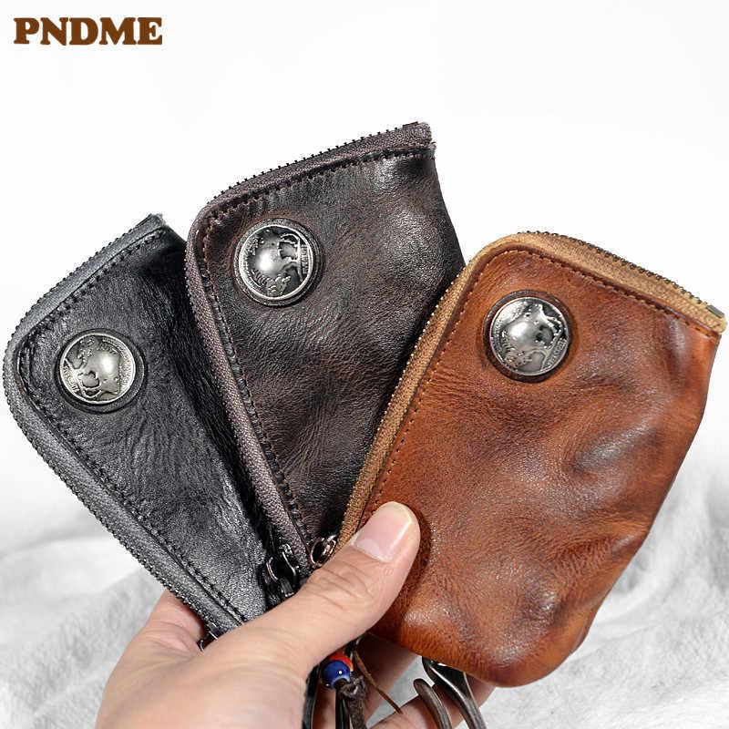PNDME модный плиссированный чехол для ключей из натуральной кожи для мужчин и женщин, повседневный винтажный Молодежный кошелек из натуральной воловьей кожи Для водительских прав
