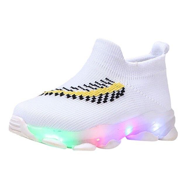 ChildrenBaby Girls Boys Feather Mesh Led Luminous Socks Sport Running Sneakers