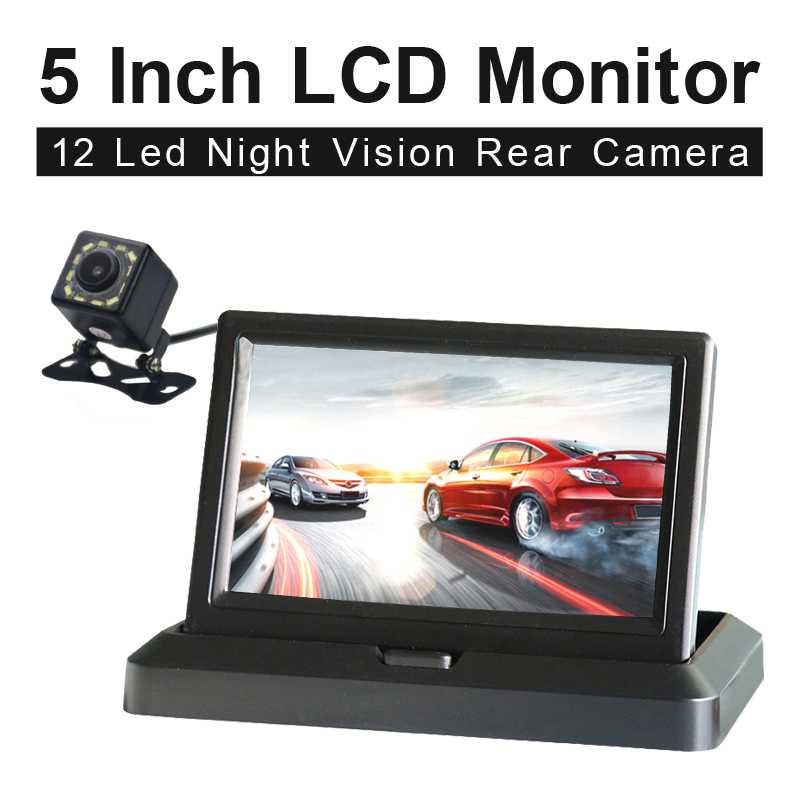 5 0inch Color HD CCD Car Display 5 Inch Folding New Digital Screen 2 Channel Video Input DVD Player DC 12 24V Monitor