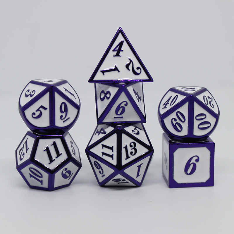 2019 dnd dice metal rpg set polyhedral dungeons and dragon d20 10 8 table games Zinc alloy White and purple digital dice pattern