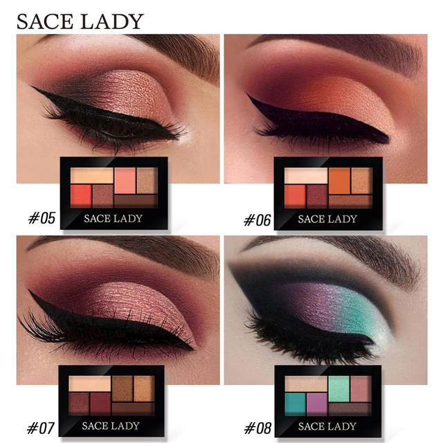 SACE LADY Glitter Eyeshadow Palette Waterproof Makeup Pigment Cosmetics 6 Colors Shimmer Eye Shadow Pallete Matte Naked Make Up 2