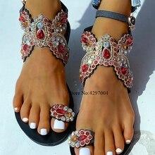 Vinapobo 2020 Big size 40 Rhineston Bohemian Sandals Summer Womens Sand