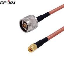 1 pces rg142 n macho plug para sma macho plugue em linha reta conector rf coaxial jumper trança cabo 15cm-100cm
