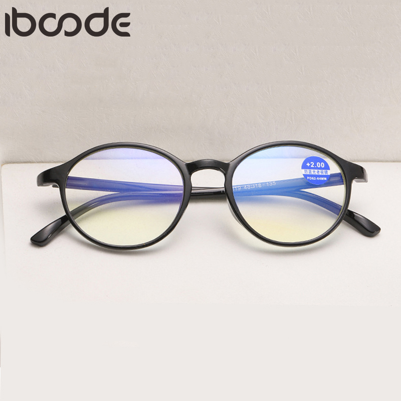 Iboode Round Reading Glasses Women Men Anti Blue Light Presbyopic Eyeglasses Female Male TR90 Hyperopia Eyewear Spectacles Gafas