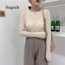 Женский трикотажный пуловер на пуговицах Элегантный Повседневный