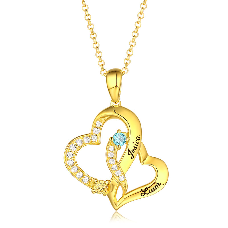 Personalized Double Heart Pendant Necklace For Women Engraved Name With Birthstone Pendant Necklace-in Pendant Necklaces from Jewelry & Accessories    2