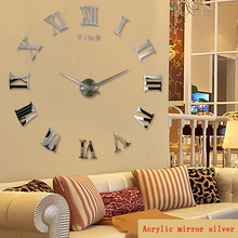 Large 3D Wall Clock Modern Silent Acrylic DIY Self adhesive Decorative Sticker for Living Room Decor Roman Numbers