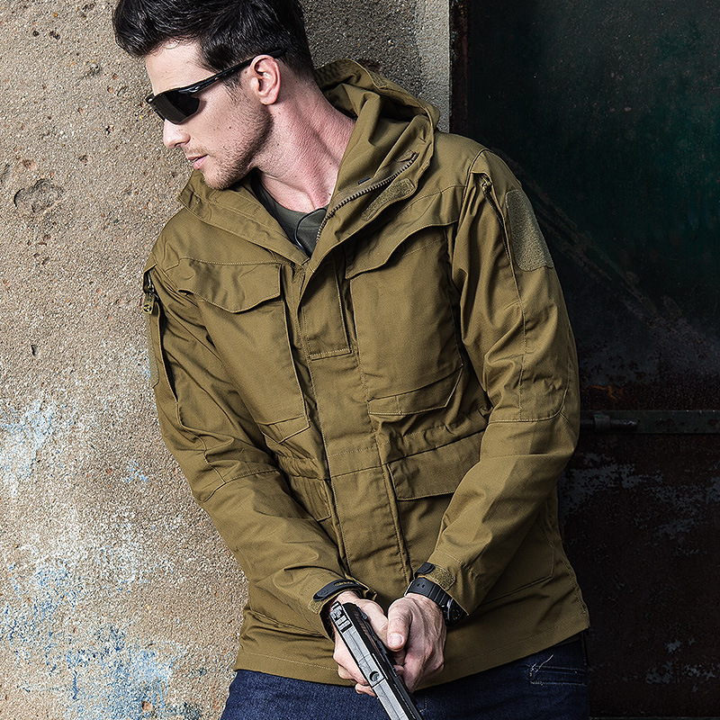 Archons Men Outdoor M65 Tactical Trench Coat City Secret Service Mid-length Casual Spy Shadow Trench Coat
