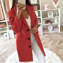 DIHOPE Women Wool Coat Winter Long Ladies jackets Coat Plus Size 5XL Casual Soli