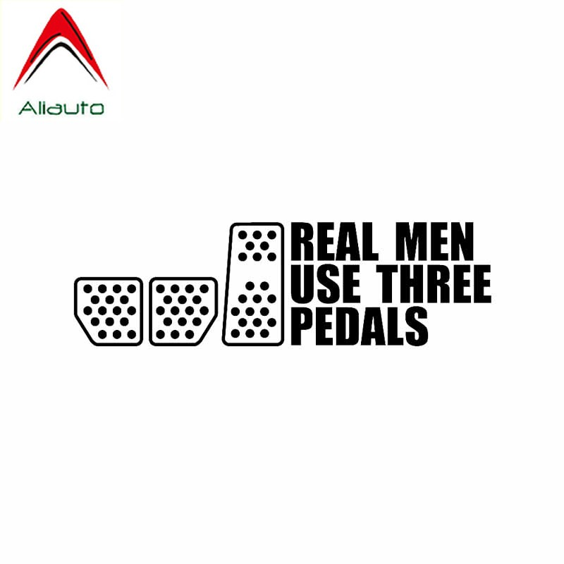 Aliauto Personality Interesting Car Sticker Real Men Use Three Pedals Vinyl Decal Drift Racing Clutch Black/Silver,19cm*5cm image