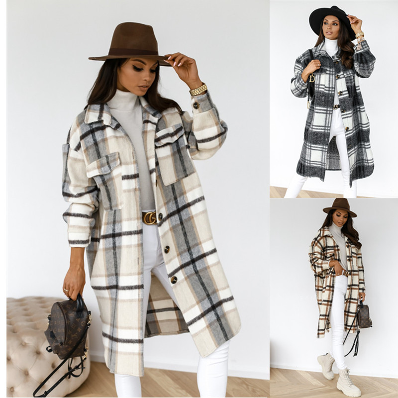 2020 New Arrivals Winter Checked Women Jacket Down Overcoat Warm Plaid Long Coat Oversize Thick Cotton
