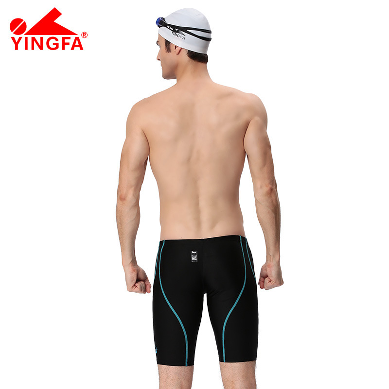 Yingfa Men Industry Sports Short Swimming Trunks Faux Sharkskin Training Game Racing Ultra-stretch Swimming Trunks Men's