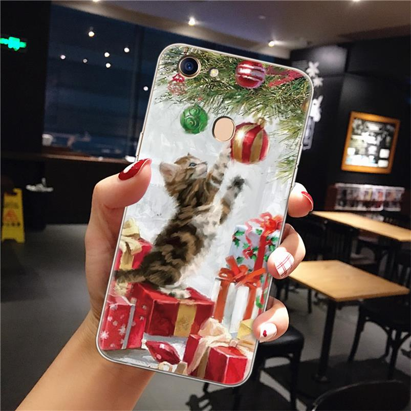 Christmas Cats Phone <font><b>Case</b></font> For <font><b>OPPO</b></font> F5 F7 F9 <font><b>Soft</b></font> TPU Back Cover For <font><b>OPPO</b></font> R9S R9 Plus F11 Pro A59 <font><b>A37</b></font> A83 A71 A39 A33 F3 A5S <font><b>Case</b></font> image