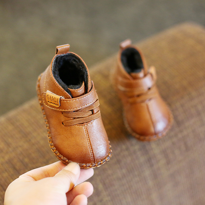 New Cow Muscle  Bottom Baby Shoes 1-2-3 Years Old Baby Toddler Winter Soft Bottom Fashion Small Leather Shoes