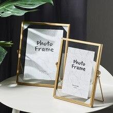 Cadre Photo créatif en métal, style nordique, avec Clip en verre, pour plantes et fleurs séchées, décoration de maison moderne, décoration de bureau, cadeaux