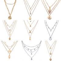 17KM multicouche cristal lune colliers et pendentifs pour les femmes Vintage charme or collier ras du cou 2020 bohème bijoux en gros