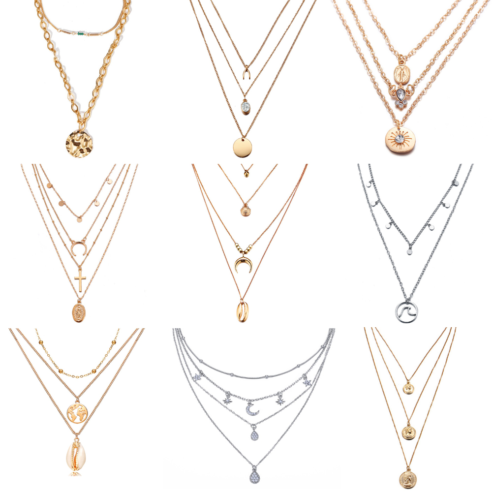 新しい多層クリスタル · ムーンネックレスペンダント女性ヴィンテージの魅力ゴールドチョーカーネックレス 2019 ボヘミアンジュエリー卸売
