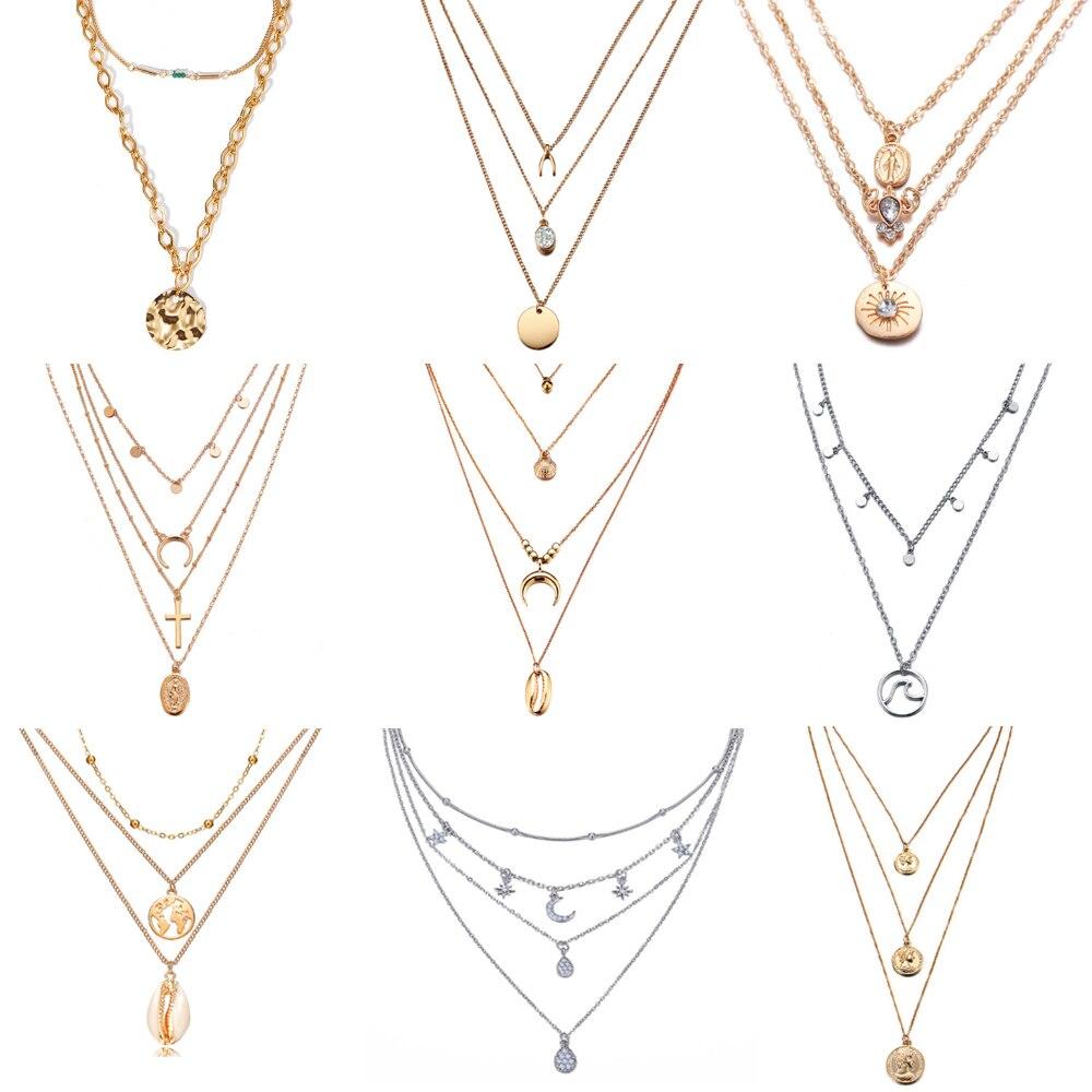 17 км Многослойные хрустальные лунные ожерелья и подвески для женщин винтажное очаровательное Золотое колье ожерелье 2020 богемные ювелирные изделия оптом Ожерелья с подвеской      АлиЭкспресс