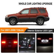 Branco âmbar carro lâmpadas interior exterior luz led para 2001 2002 2003-2006 mazda tribute reverso freio estacionamento turn signal lâmpada