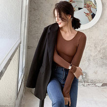 Женская футболка женские топы с длинным рукавом Классическая