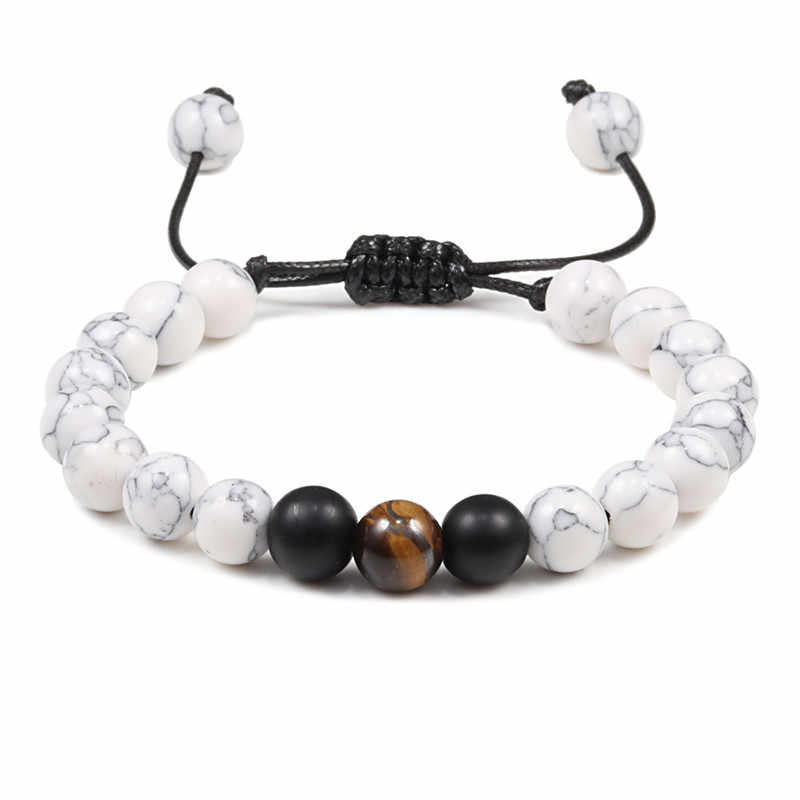 Regulowany splot naturalny kamień tygrysie oczy joga medytacja Braslet dla człowieka Handmade Homme Unisex prezenty para bransoletka i bransoletki
