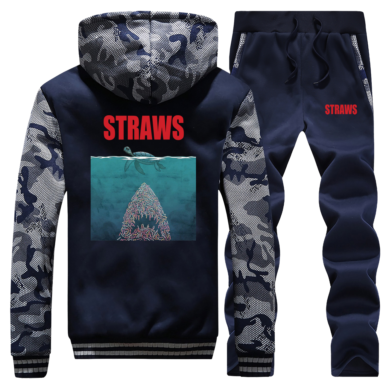 Straws Shark Funny Desgin Camo Men's Sets Fashion Thick Jackets Sweatpants Fleece Fitness Pants Sweatshirt Winter Warm Gym Suit