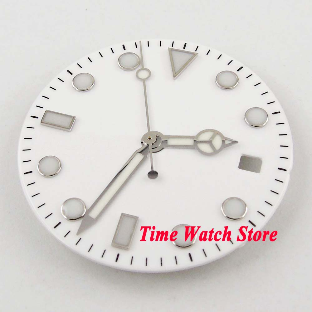 28.5mm White Strile Watch Dial Luminous Marks Fit ETA 2824 2836 MIYOTA 8215 821A Mingzhu 2813 Automatic Movement With Hands