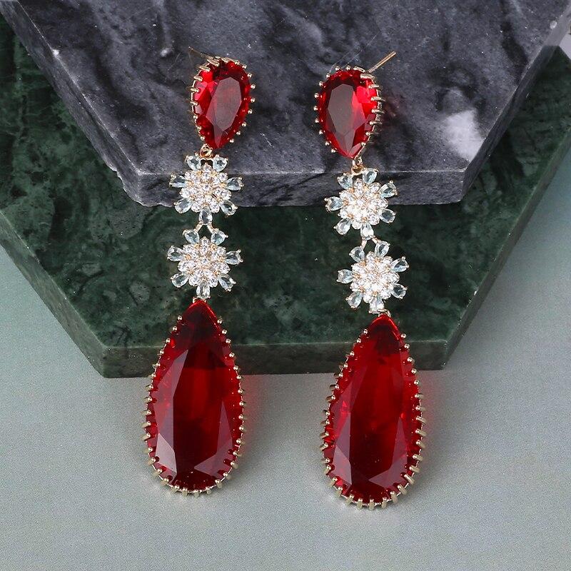 Image 5 - Rose couleur Zircon boucles doreilles de luxe longue goutte deau forme CZ pierre Elagant dame boucles doreilles bijoux pour mariage XIUMEIYIZU nouveauBoucles doreilles pendantes   -