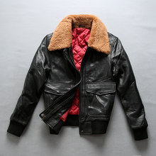 Avirex fly air force flight fur collar genuine leather woman winter sheepskin coat pilot bomber jacket(China)