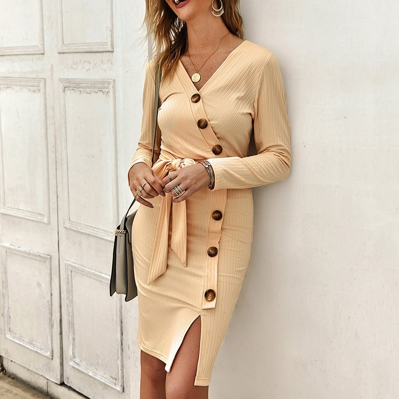 Women bodycon dress female sexy v neck bowknot belt midi dress casual leisure fit and flare elegant button basic chic dress in Dresses from Women 39 s Clothing