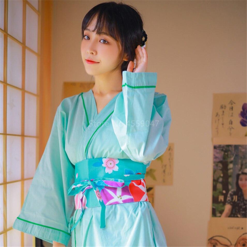 Japanese Girls Teen Yukata Summer Kimono Cotton Robe Motifs of Floral Flowers Abstract Geometric Boho Art 090519-10