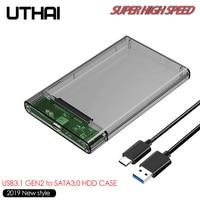 """UTHAI G25 USB 3 1 zu Typ C HDD Gehäuse von 2.5 """"Festplatte Fall SSD SATA3 zu Usb 3 0 Box USB C HDD Fall Gen2 6GBp/s SSD Mobile-in HDD-Gehäuse aus Computer und Büro bei"""