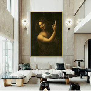 St. joão batista famosa arte pintura a óleo impressão em tela cartaz leonardo da vinci para sala de estar retrato da parede decoração casa