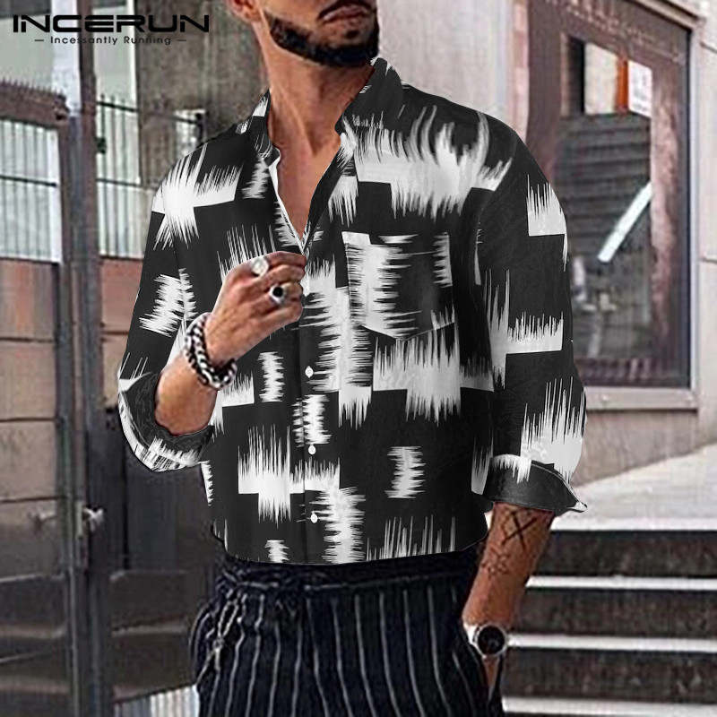 2019 Fashion Print Men Business Shirt Dress Long Sleeve Pockets Lapel Collar Streetwear Loose Casual Hawaiian Shirt Men INCERUN