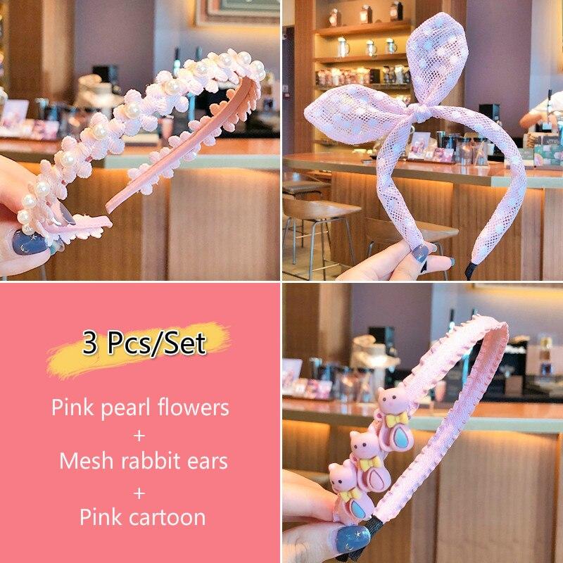 3 unids/set de diademas de colores bonitos para niños, lazo bonito para niñas, con estampado de orejas, rayas enrejadas, diademas para el pelo, accesorios para el cabello para niños