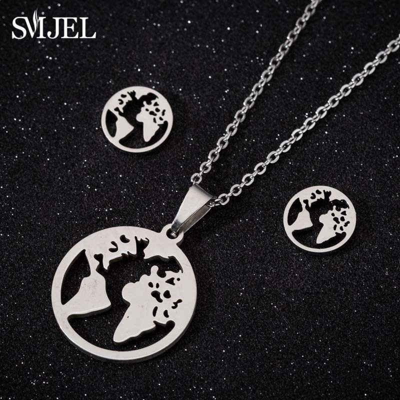 Smjel śliczne ze stali nierdzewnej mapa świata kolczyki dla kobiet dzieci biżuteria dla nowożeńców ustawia motyl gwiazda fala czaszka naszyjnik kolczyk bijou