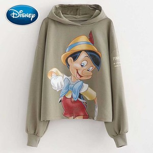 Женская футболка с капюшоном Disney Fashion, повседневный пуловер с длинным рукавом и принтом из мультфильма «Приключения Пиноккио», Harajuku