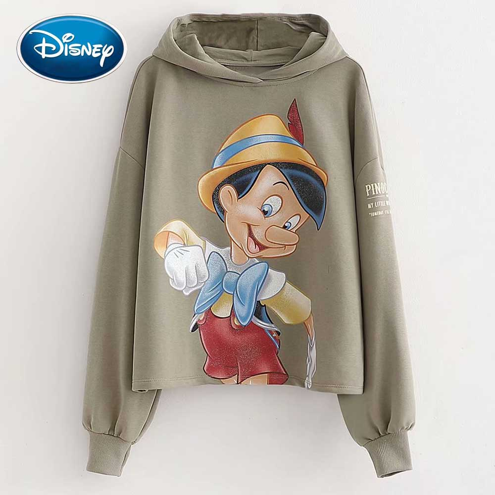 Disney Fashion The Adventures Of Pinocchio Cartoon Letter Print T-Shirt Hoodie Pullover Long Sleeve Casual Harajuku Women Tops