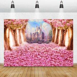 Image 4 - Laeaccoベビーシャワーphotocallピンクの花咲く木城写真撮影の背景新生児背景誕生日photophone