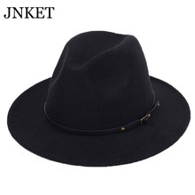 JNKET New Autumn Winter Men Women Jazz Cap Wide Brim Fedoras Hat Gangster Cap Panama Hat Outdoor Sports Sunhat Top Hats(China)
