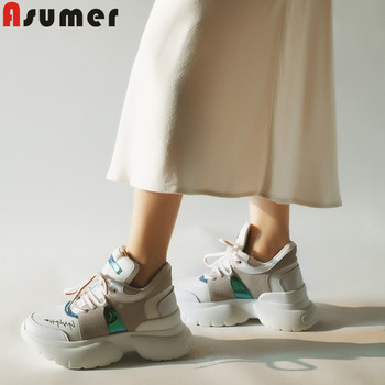 ASUMER 2020 new mesh+cow leather shoes casual flat platform shoes women comfortable flats shoes women sneakers
