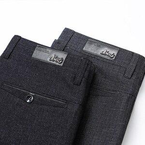 Image 4 - סגנון קלאסי גברים של ישר מכנסי קזואל 2019 החדש מודאלי בד עסקים כהה אפור משלוח חם למתוח מותג מכנסיים