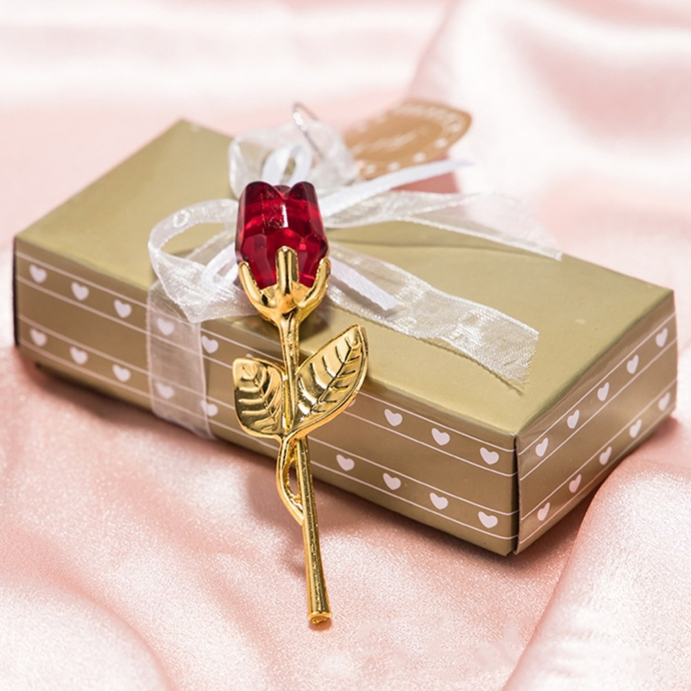 Cristal verre Rose fleur Figurines artisanat mariage saint valentin faveurs et cadeaux Souvenir Table décoration ornements