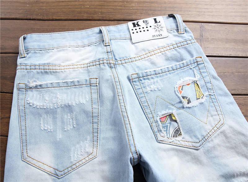 2020 Herfst Winter Mannen Patchwork Ripped Geborduurd Stretch Jeans Trendy Gaten Rechte Denim Trouers