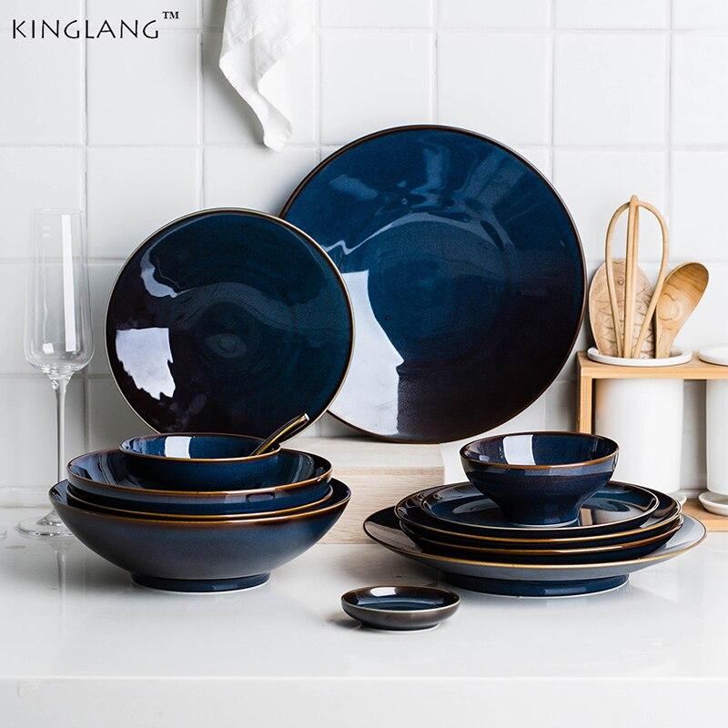 Kinglang Dim Deep Blue Color Ceramic Tableware European Retro Glazed Dinnerware Pottery Porcelain Dish Plate Household Rice Dish Dinnerware Sets     - title=