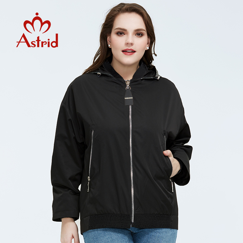 Astrid 2020 New Spring Loose Fashion Short Women Coat High Quality Female Outwear Casual Jacket Hooded Trench Coat AM-9317