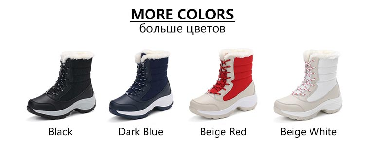 Winter boots women shoes 2019 fashion solid waterproof casual shoes woman hook&loop ankle boots warm plush snow women boots (4)