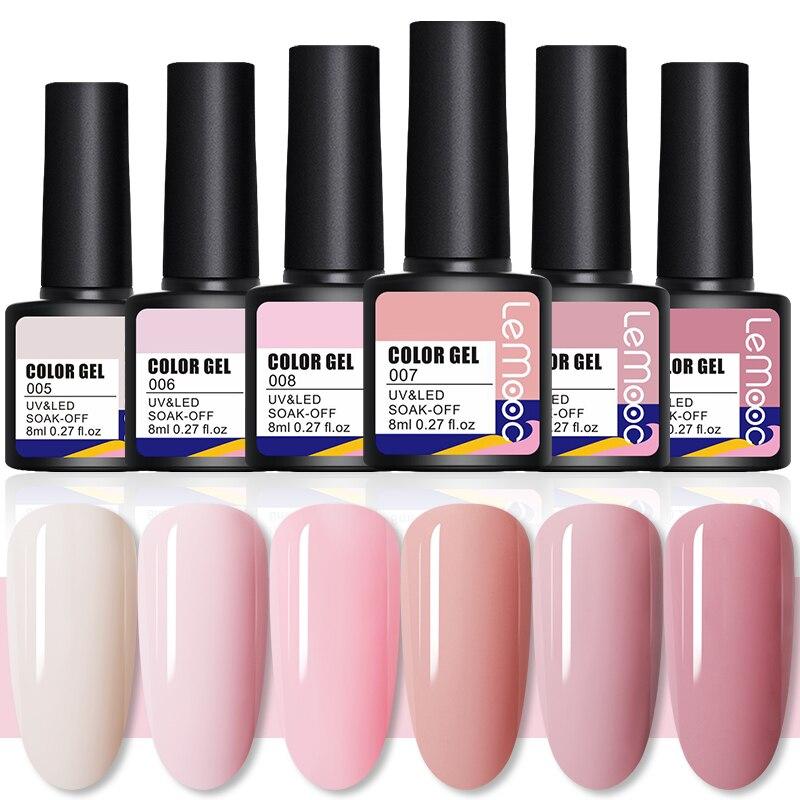Lemooc натуральные розовые цвета серии УФ-гель для ногтей Led Гель-лак для ногтей розовый гель для ногтей базовый топ матовое покрытие дизайн но...